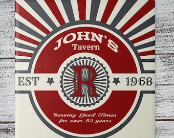 Personalized Coasters   Custom Stone Coaster Set   John's Tavern   Set of 4