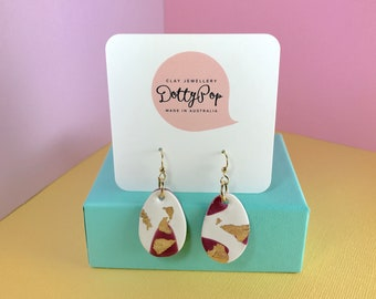 Burgundy Drops Set No. 3. Statement Polymer Clay Earrings
