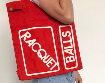 Vintage Red Racquet Ball Canvas Tote Shoulder Bag