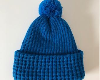 7dda15814fa Adult Knit Blue Winter Beanie Hat