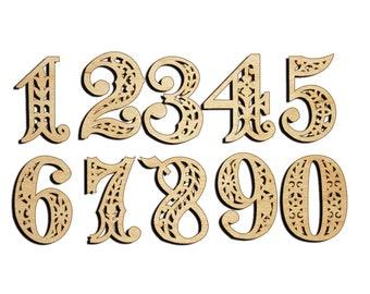numerals - laser cutting. Wood Shape