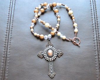 Crystal and Pearl Necklace with Cross Pendant