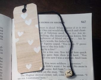Wood Hearts Bookmark