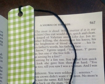 Green Gingham Bookmark