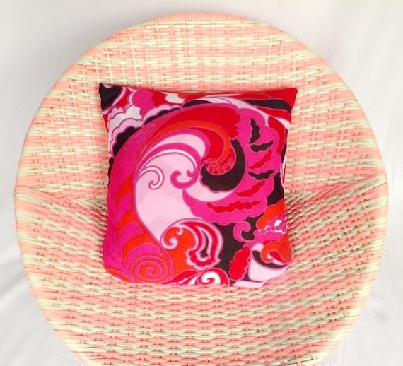"""Fait à la main motif psychédélique rose, noir & Orange tourbillon Pop Art print Vintage des années 1960 / 1970 s housse coussin coussin et coussin 16 """"X 16"""""""