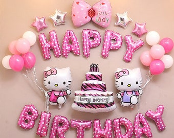 CuteTrees Hello kitty Theme birthday party cake bowknot Foil balloons and  latex balloons party supplies party decoration 33 pcs 4ad640136c