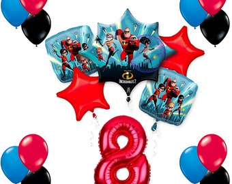 THE INCREDIBLES Pack of 6 Party Balloons Kids Birthday Decorations Helium