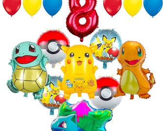 CuteTrees Pokemon Pikachu Theme 8th Birthday Balloons And Supplies Decorations 15 Pcs