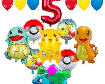 CuteTrees Pokemon Pikachu Theme 5th Birthday Balloons And Supplies Decorations 15 Pcs