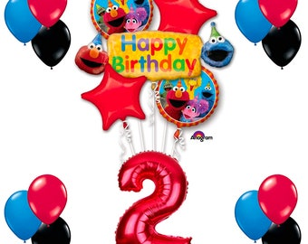 CuteTrees Elmo Sesame Street Theme 2nd Birthday Balloons Party Supplies Decoration Decorations 18 Pcs