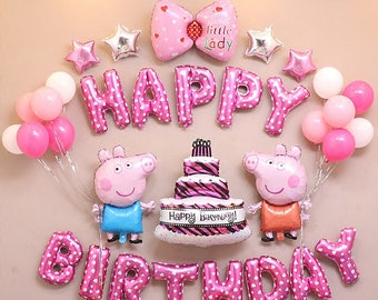 CuteTrees Peppa Pig Pink Theme Birthday Party Balloons Supplies Decoration Decorations 33 Pcs