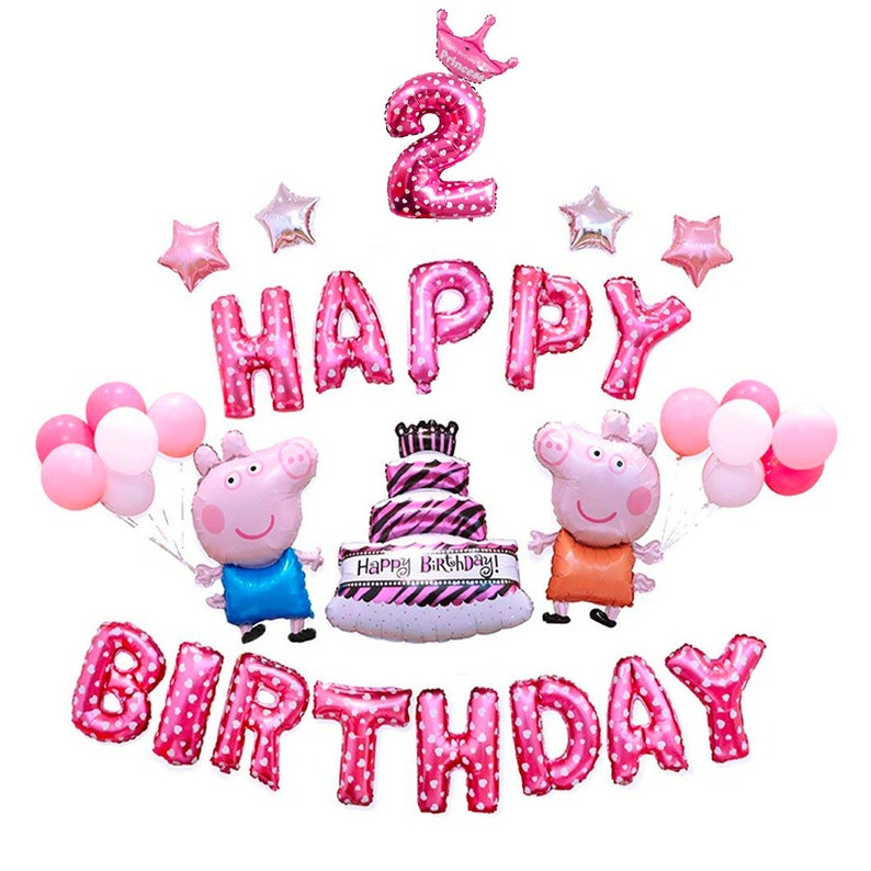CuteTrees Peppa Pig Pink Theme 2nd Birthday Party Balloons