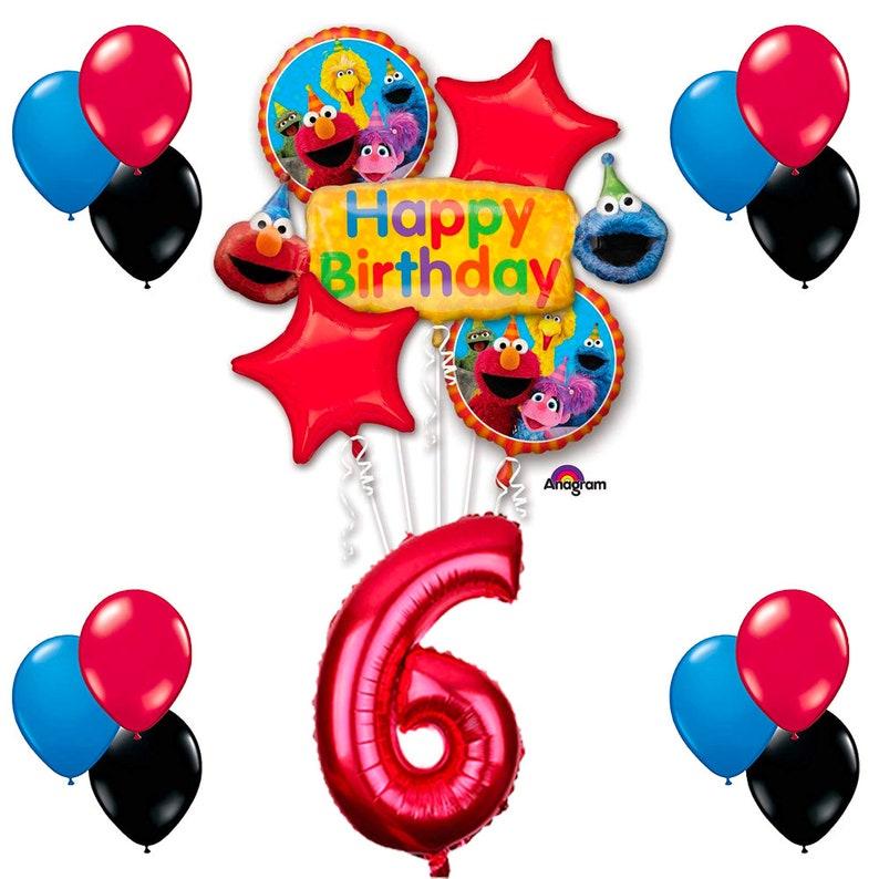 CuteTrees Elmo Sesame Street Theme 6th Birthday Balloons Party