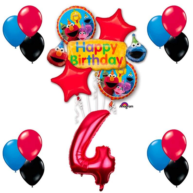CuteTrees Elmo Sesame Street Theme 4th Birthday Balloons Party