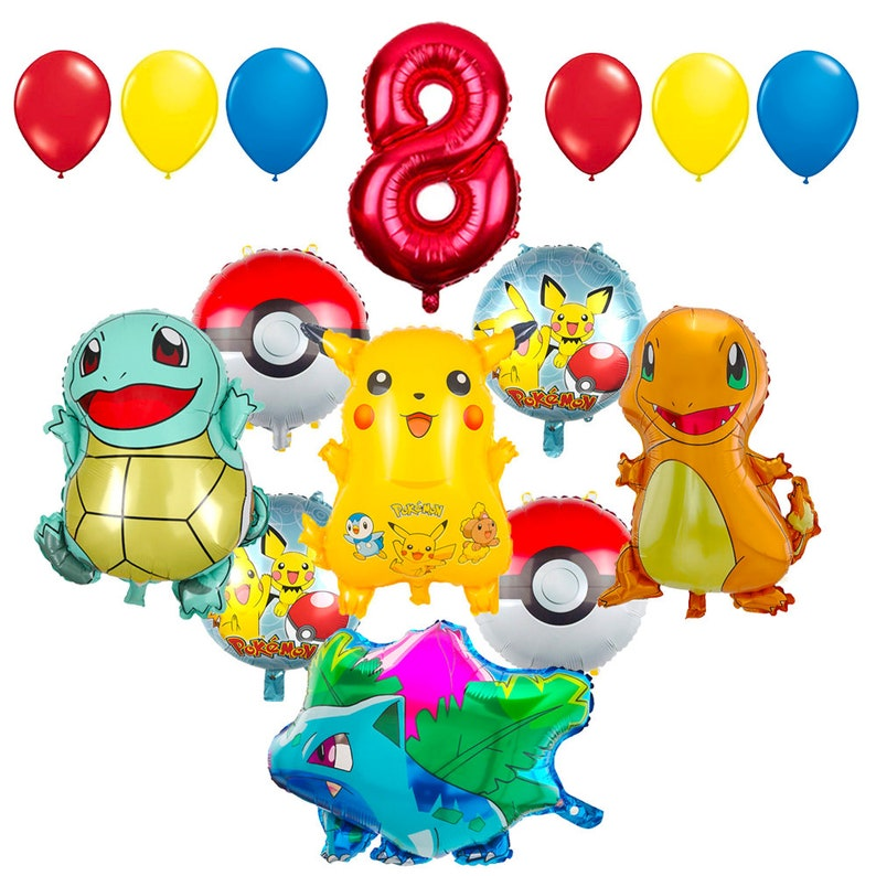 CuteTrees Pokemon Pikachu Theme 8th Birthday Balloons And