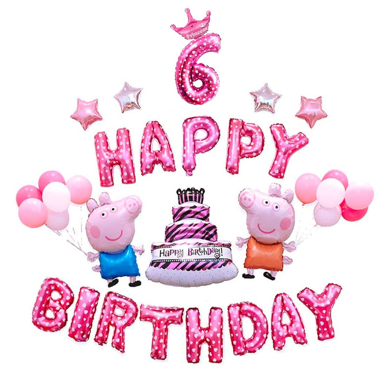 CuteTrees Peppa Pig Pink Theme 6th Birthday Party Balloons