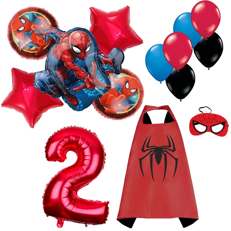 CuteTree Spiderman 2nd Birthday Balloons Decoration And Super Hero Cape