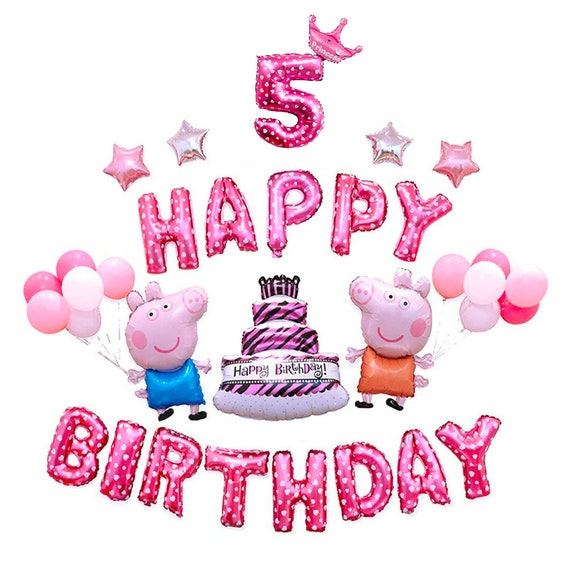 CuteTrees Peppa Pig Pink Theme 5th Birthday Party Balloons