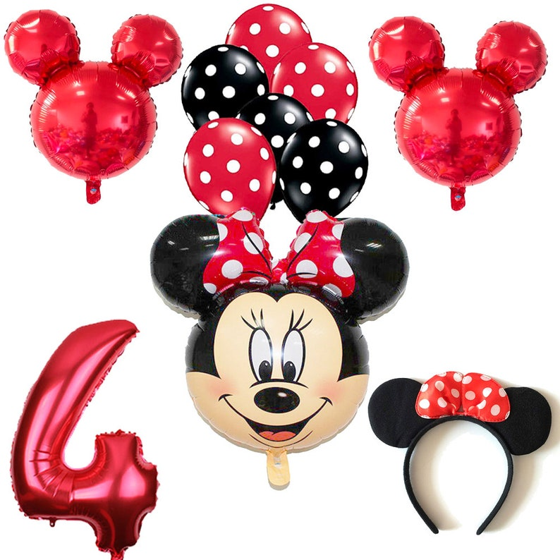 CuteTrees Minnie Mouse 4th Birthday Balloons Set Party