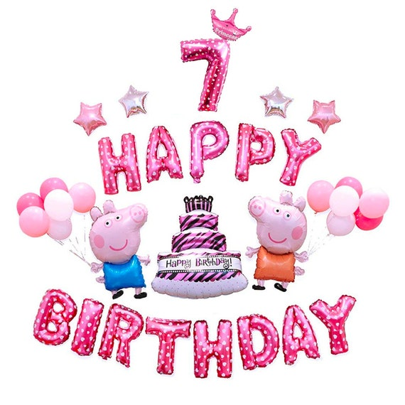CuteTrees Peppa Pig Pink Theme 7th Birthday Party Balloons