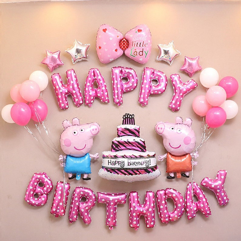 CuteTrees Peppa Pig Pink Theme Birthday Party Balloons