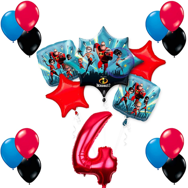 CuteTrees The Incredibles 2 Theme 4th Birthday Balloons Party