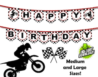 Motocross Banner Red Dirt Bike Happy Birthday Racing Party Bunting Sports Motorcycle