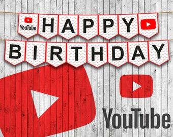 YouTube Printable Birthday BannerFull Alphabet Garland Happy Banner Custom Instant Download Party Decor