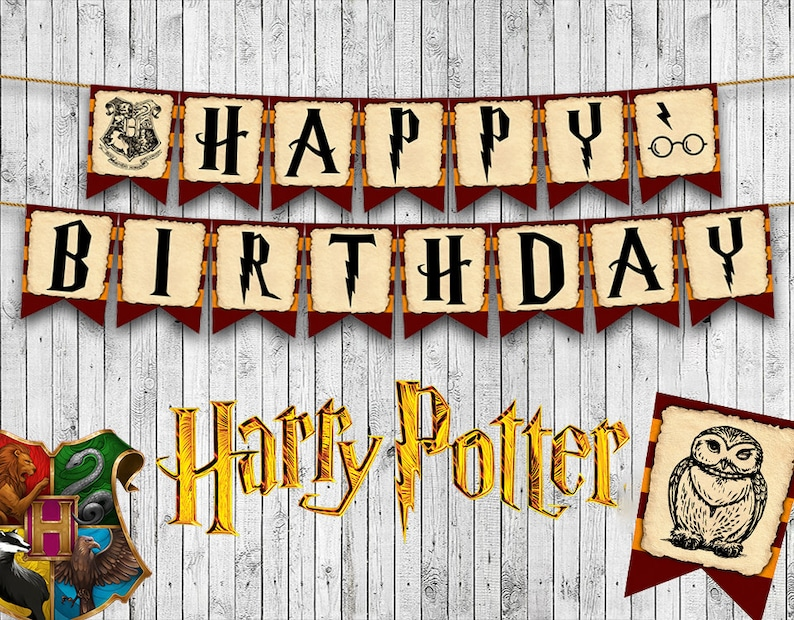 image about Harry Potter Printable referred to as Harry Potter Encouraged Printable Birthday Banner, Joyful Birthday Banner, Custom made, Prompt Obtain, Get together Decor