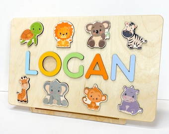 Wooden Name Puzzle Animals - Personalized Baby Boy Gift - Custom Puzzle for Girl - My First Christmas