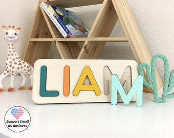 Engraved Wood Name Puzzle - Personalized Gift -  Baptism Gift Boy - Newborn Baby Girl -  1st Birthday Gift For Kids - Woodily Toys