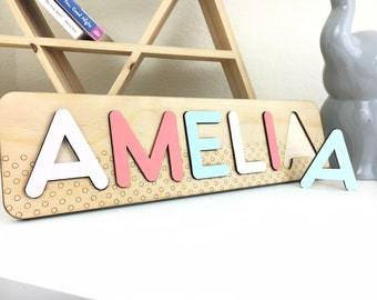 Two Year Old Girl Custom Name Puzzle Niece First Birthday Gift Idea Wooden Montessori Toys Infant Busy Board Easter