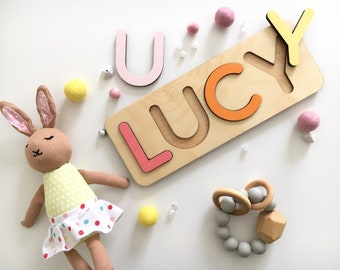 Personalized Name Puzzles For Toddlers 1 Year Old Girl Gift Montessori Wood Toys Newborn Boy Baptism New Baby Letter Puzzle