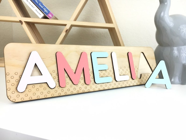 Two Year Old Girl Custom Name Puzzle Niece Birthday Gift Idea image 0