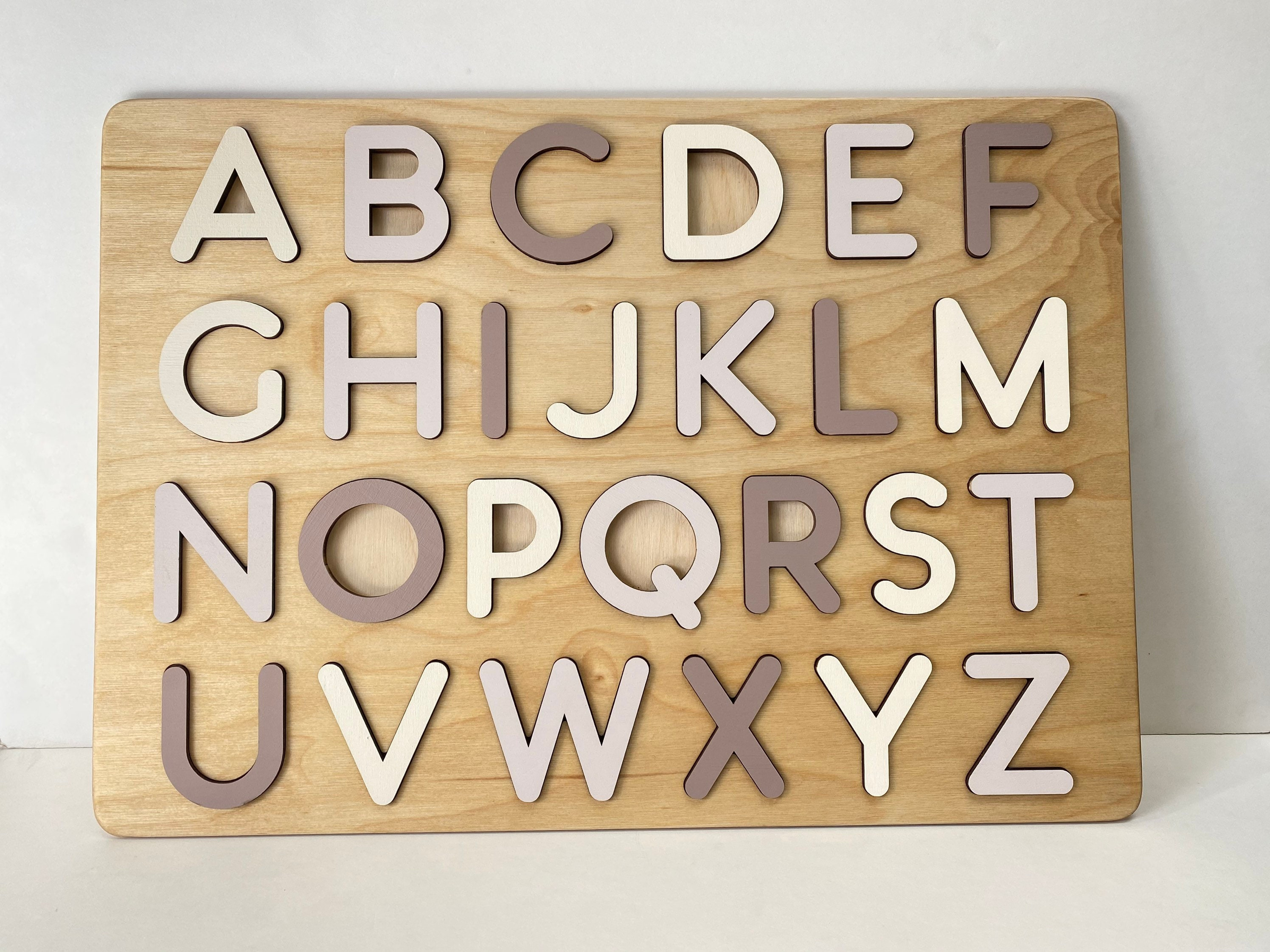 Boho Wooden Alphabet Puzzle   Letter ABC Puzzle   Montessori Toys for  Toddlers   Wooden alphabet   20rd Birthday Gift