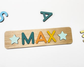 2 Stars Included + Name Puzzle For Toddlers - 1st Birthday Girl Gift - Children Personalized Baby Christmas Present 1 Year Old - WoodilyToys
