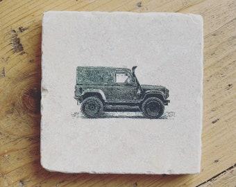 Land Rover Defender ~ Natural Stone Coaster