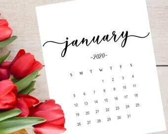 Baby Calendar For January 2020 Calendar 2020 | Etsy