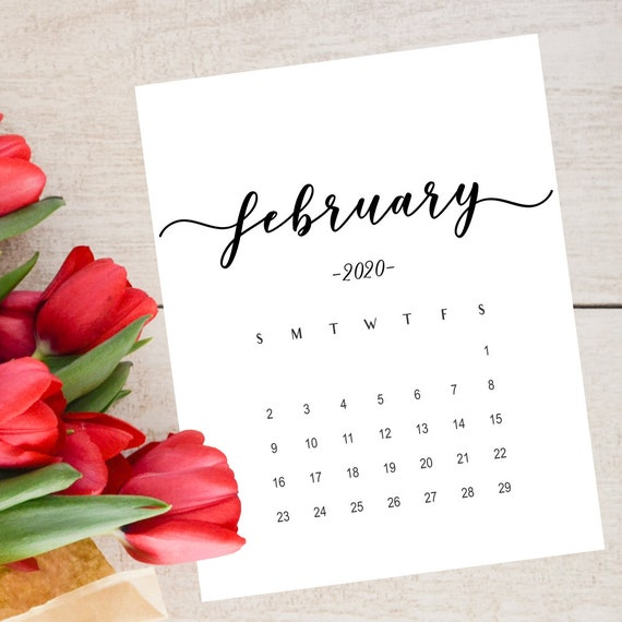 February Social Media Calendar 2020 Pregnancy announcement calendar February 2020 Social Media | Etsy