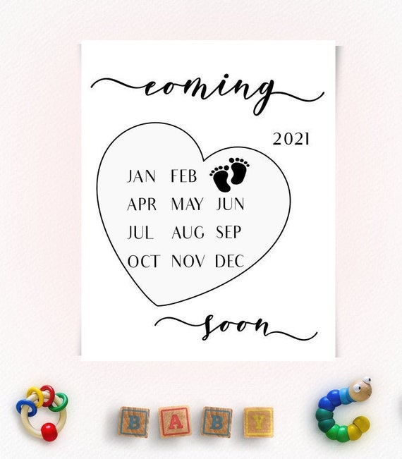 Personalized month MARCH 2021 Custom PREGNANCY ANNOUNCEMENT Calendar Social Media Baby Announcement Baby Due date printable calendar