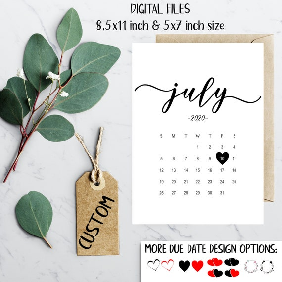 Calendrier Juillet2020.Calendrier D Annonce De Grossesse Juillet 2020 Social Media Baby Announcement Idea Expecting Custom Calendar Idea Baby Due Date Juillet 2020