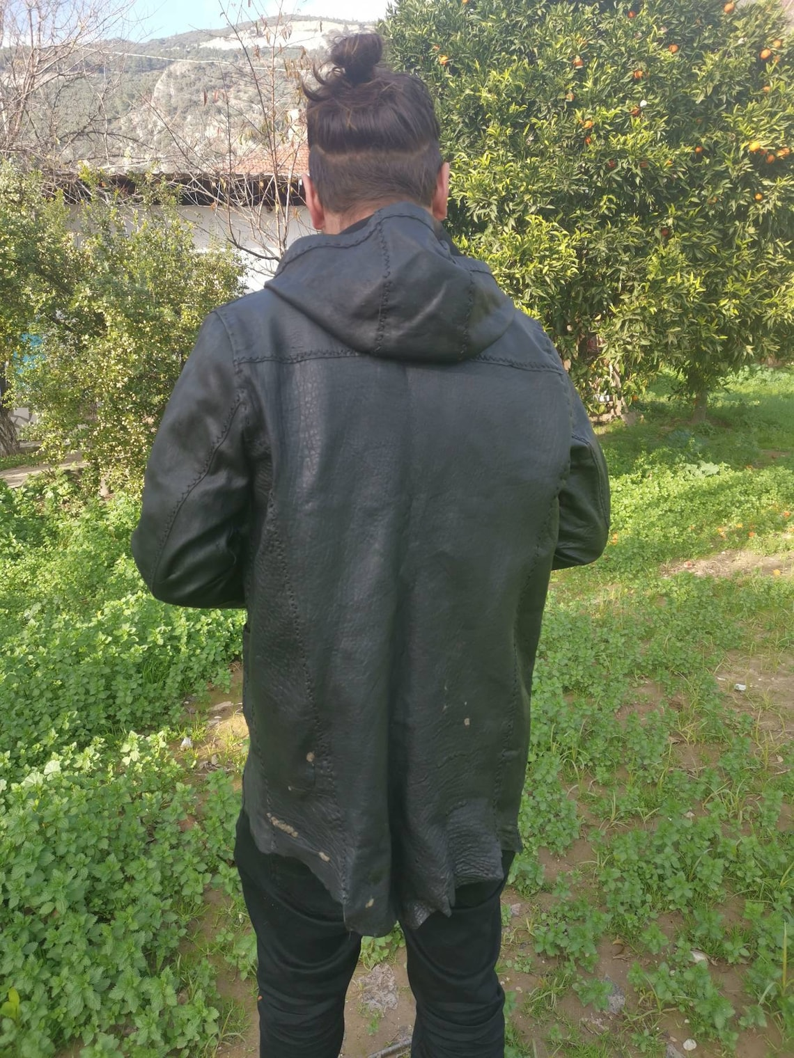 Mens Handmade Leather Jacket, Hoodie, Hand Stitch, Sheep Skin, Genuine, Hippie Style, Festival Clothes, Gift For Him
