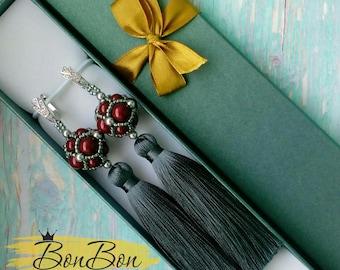 Tassel Earrings Statement Earrings Silver Earrings Long Earrings Dangle Earrings Gray Earrings Boho Earrings Swarovski Earring