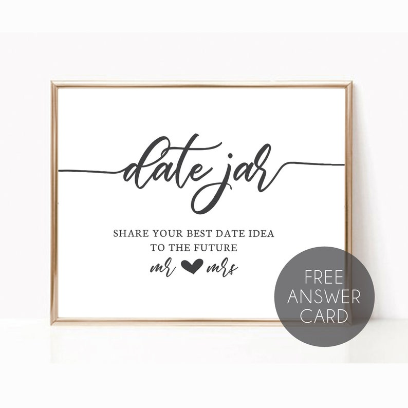 Printable Date Jar Sign Date Night Ideas Sign Bridal Shower Etsy