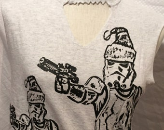 "The ""Winter Storm"" Troopers Tank with Cut-outs- Xmas in July!"