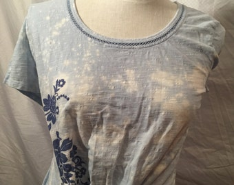 Knotted Crop Top with Bleach Splatter