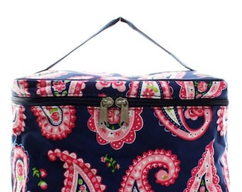 M Gill canvas cosmetic bag with paisley pattern