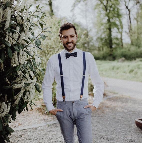 Herren Hosenträger dunkelblau Bräutigam, Trauzeugen, Hochzeit inklusive Gravur