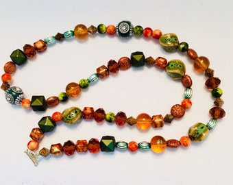 Variegated Green and Orange Beaded Necklace