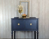 SOLD Petite buffet sideboard, navy, blue, tv stand, side table, entryway table, farmhouse, cottage, bedside table, vanity, bathroom